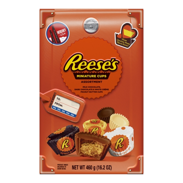 REESE'S Peanut Butter Cup Miniatures Assortment Box (White Chocolate, Milk Chocolate and Dark Chocolate), 460g