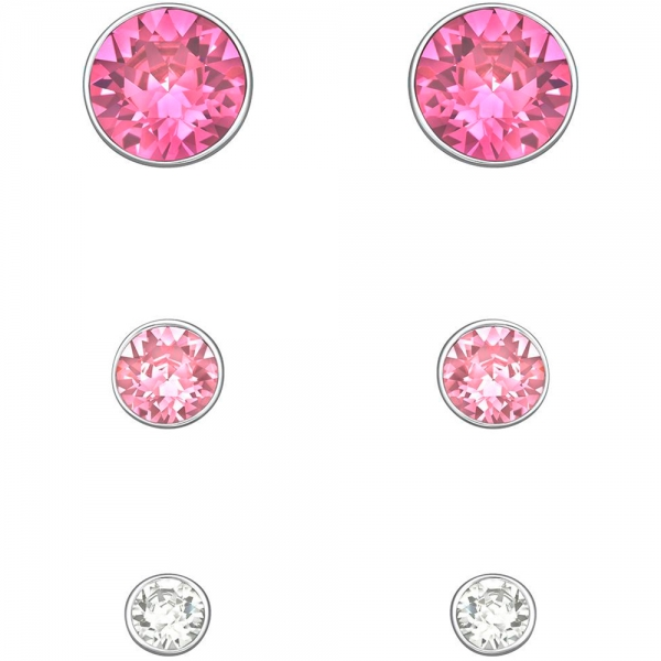 Harley Pierced Earrings Set, Pink and White